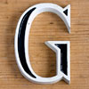 Mid-1900s small black and white metal sign letter 'G'