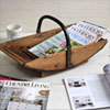 Early-1900s curved wooden fruit gathering trug