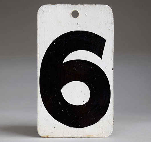 Painted black & white vintage metal number sign '6'