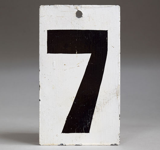 Painted black & white vintage metal number sign '7'