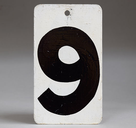 Painted black & white vintage metal number sign '9'