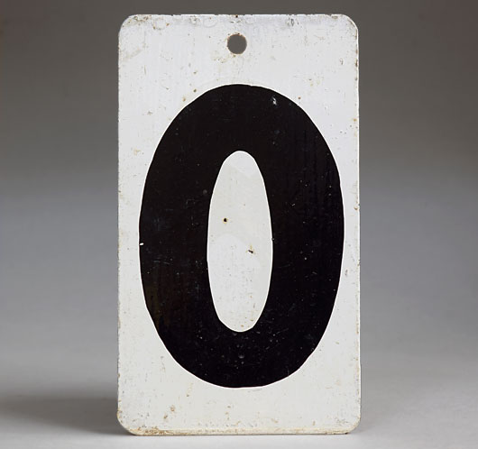 Painted black & white vintage metal number sign '0'