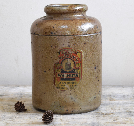 Large Victorian stoneware pickled walnut jar