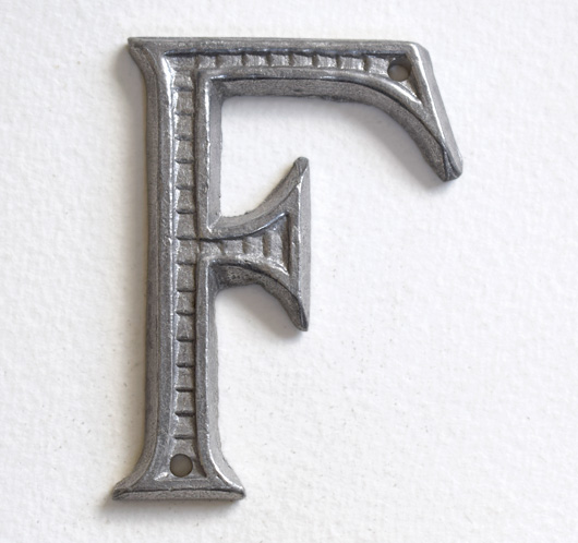 Vintage French decorative cast-metal sign letter 'F'