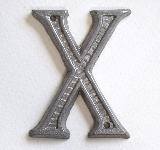 Vintage French decorative cast-metal sign letter 'X'