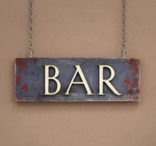 Early-1900s antique brass, enamel and wood sign: Bar