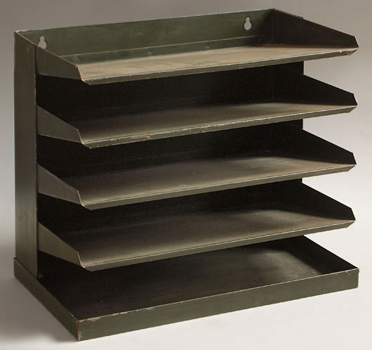 Vintage wall-mountable tiered metal filing tray, mid-1900s