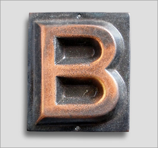 Small embossed brass door sign letter 'B', c. 1900