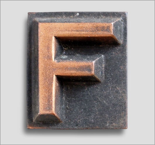 Small embossed brass door sign letter 'F', c. 1900