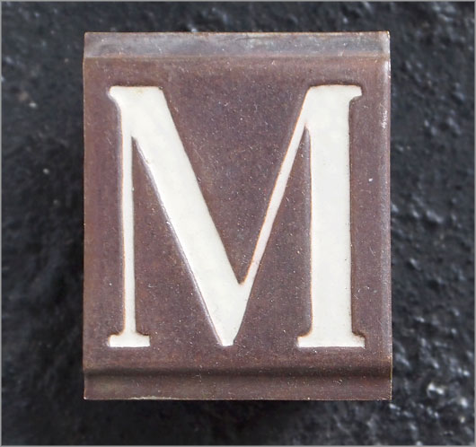 Small Victorian enamelled brass door sign letter 'M', c.1900