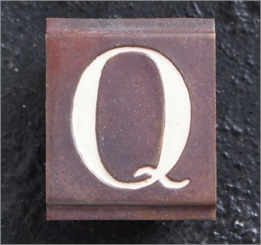 Small vintage enamelled brass door sign letter 'Q'