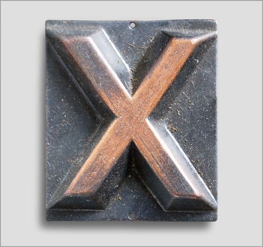 Small embossed brass door sign letter 'X', c. 1900