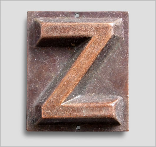 Small embossed brass door sign letter 'Z', c. 1900