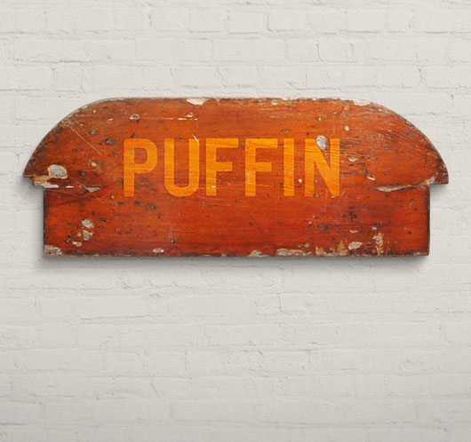 Vintage wooden rowboat seat wall hanging: 'Puffin'