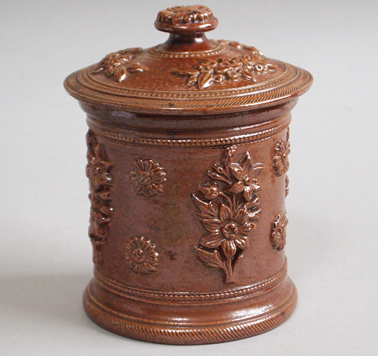 Mid-1800s antique French stoneware tobacco jar