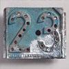 French raised metal railway number sign: '23'