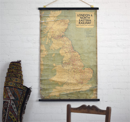 Vintage 1930s London & North Eastern Railway wall map
