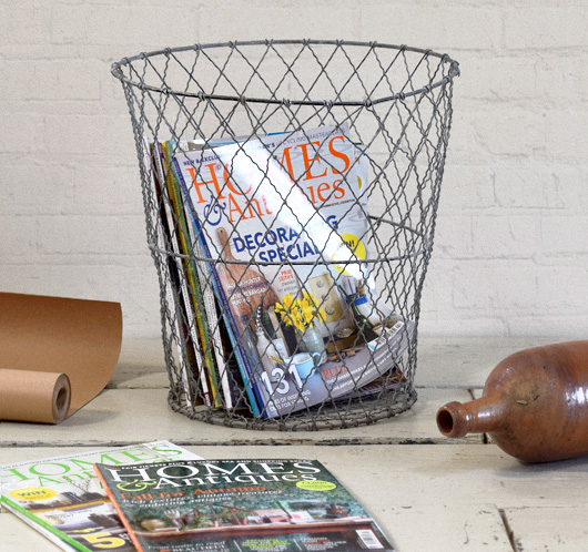 Large early-1900s antique wire wastepaper basket