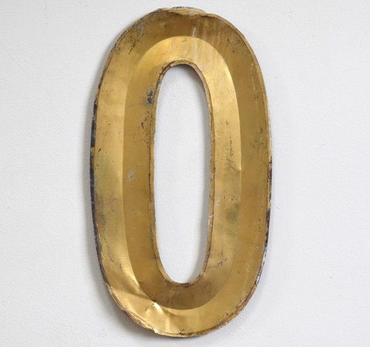 Vintage French folded gold-gilt zinc letter 'O', early 1900s
