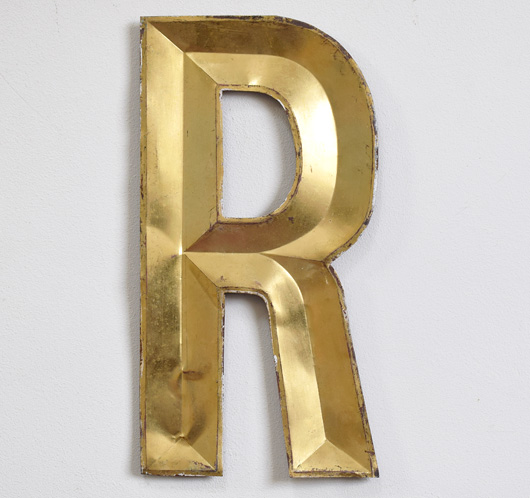 French vintage gold-gilt zinc letter 'R'