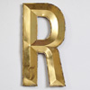 French folded gold-gilt zinc letter 'R', early 1900s