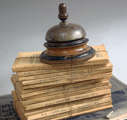 Victorian oak shop counter service bell
