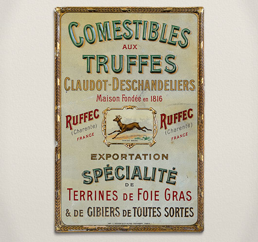Antique French terrines tin advertising sign, c. 1900