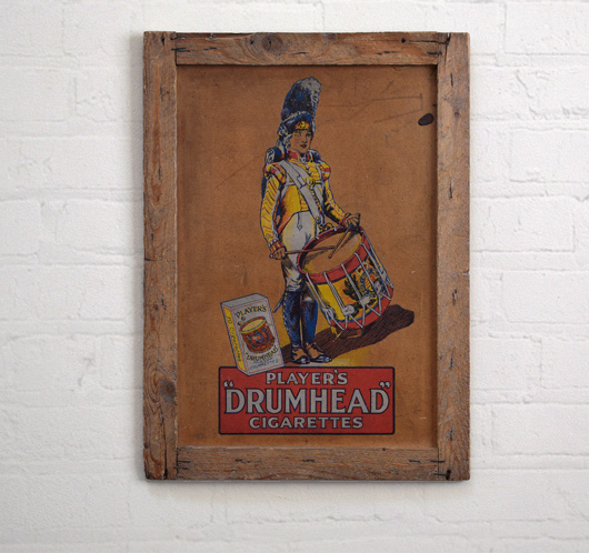 Player's Drumhead Cigarettes wooden advertising panel