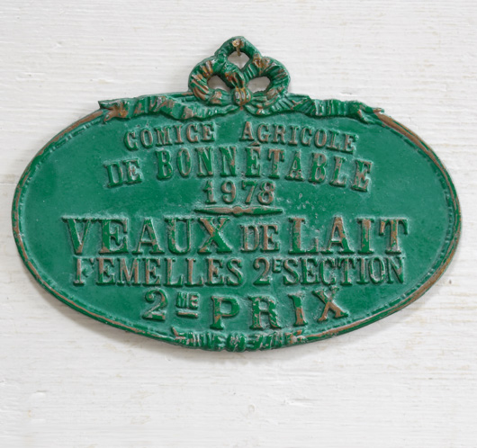 Vintage French metal livestock prize plaque: Dairy Calf