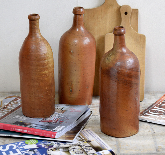 Large 19th-century antique French stoneware cider bottle