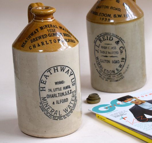 Antique stoneware flagon: Heathway Mineral Waters, 1947