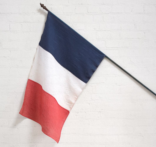 Large antique French Tricolore flag with pole and finial