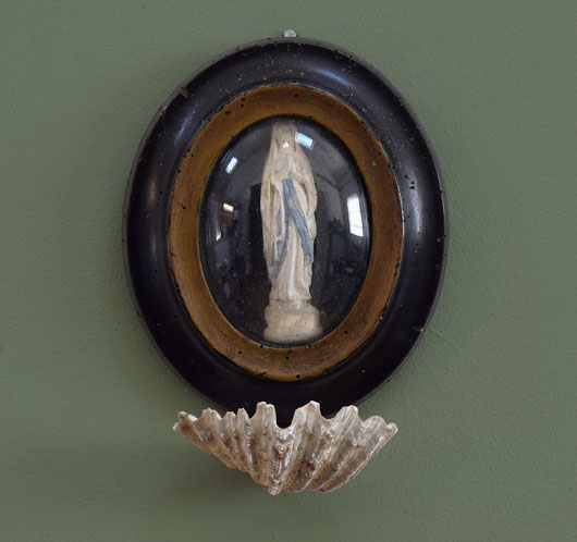 Victorian antique framed Madonna with seashell dish