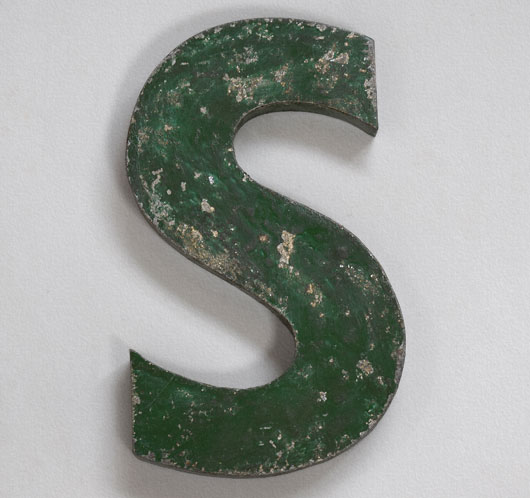 1920s vintage green painted metal sign letter 'S'