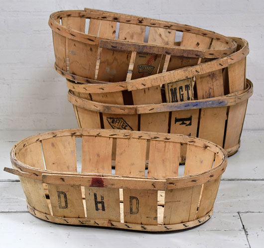 Vintage rustic French bentwood fruit baskets