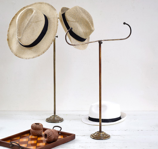 Early-1900s antique brass double-ended hat stand