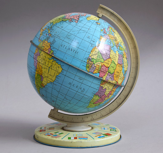 Mid-1900s vintage tin world globe, Chad Valley