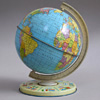 Mid-1900s tin world globe, Chad Valley