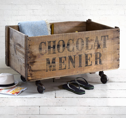 Extra-large antique crate on castors: Chocolat Menier