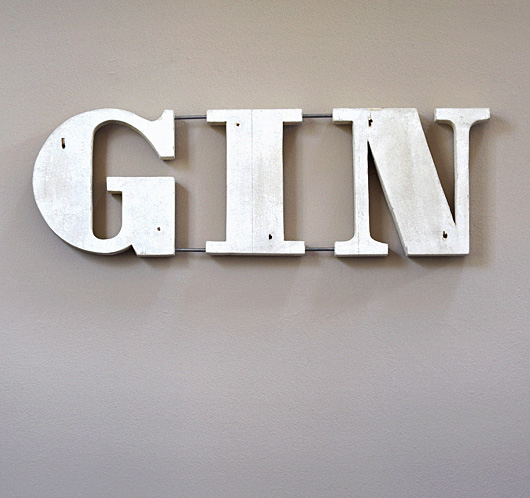 Mid-century wooden bar sign: Gin