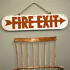 Large 1930s wooden fire exit sign