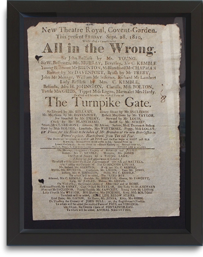 New Theatre Royal Covent Garden playbill, September 28, 1810