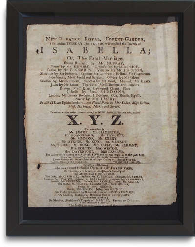 New Theatre Royal Covent Garden playbill, December 11, 1810
