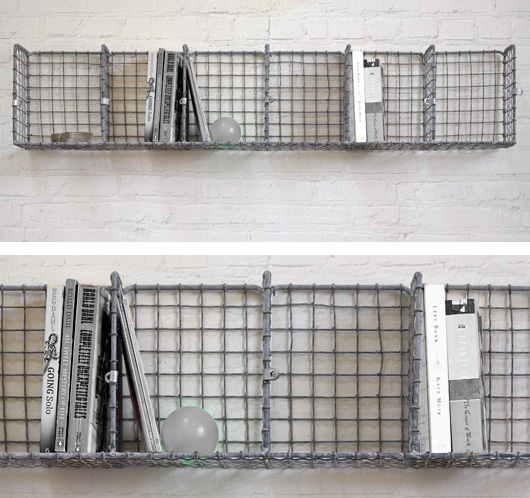 Vintage wall-mountable wire pigeon hole shelving, 108cm