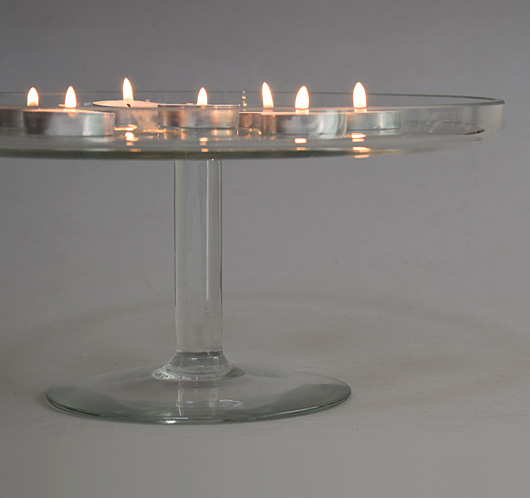 Large vintage glass tazza cake stand, mid-1900s