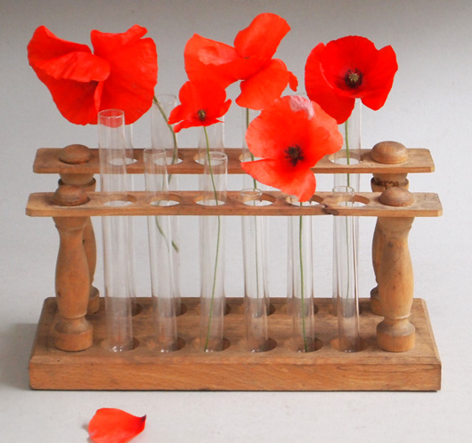 Early-1900s vintage wooden double test tube rack vase