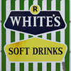 Mid-1900s enamel sign: R. White's Soft Drinks
