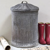 Extra-large fluted zinc bin with lid, early 1900s