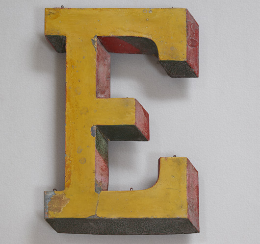 19th-century antique French zinc trompe l'oeil sign letter 'E'