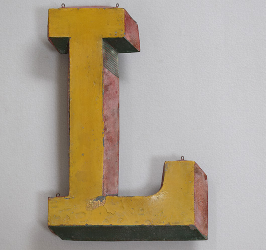 19th-century antique French zinc trompe l'oeil sign letter 'L'
